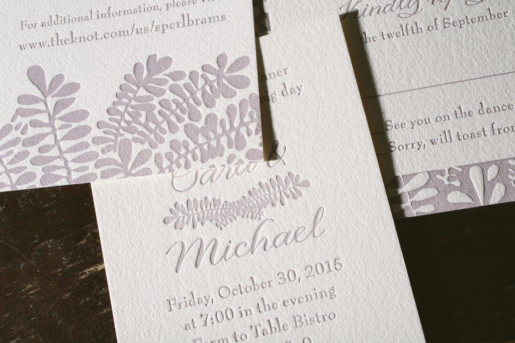 Classically romantic fern wedding invitations | Bella Figura