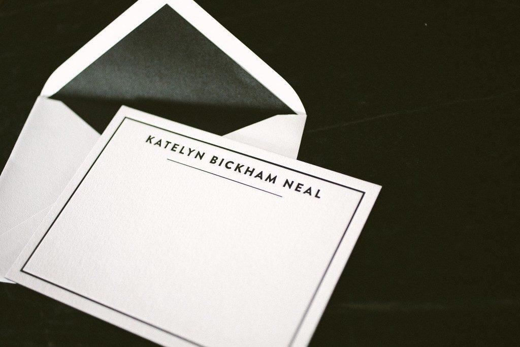 modern black letterpress personal stationery | Bella Figura