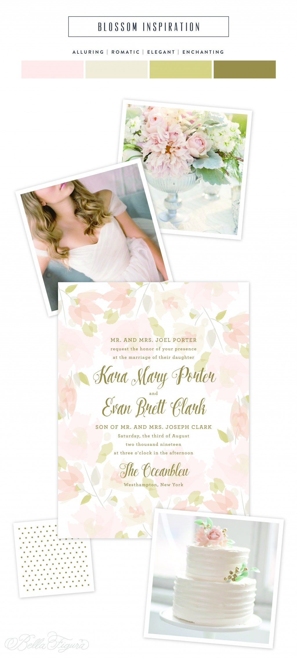 Blossom floral wedding invitation inspiration from Bella Figura