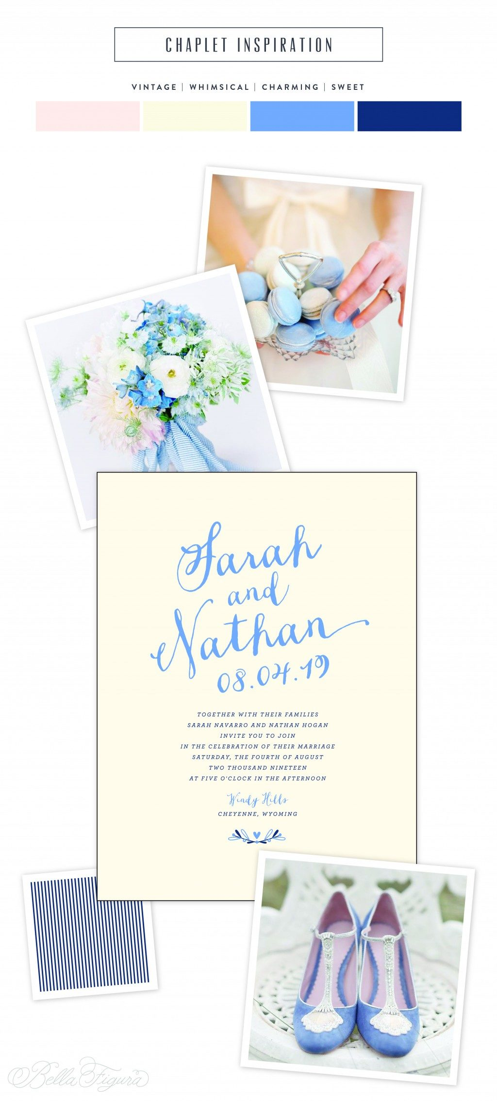 Garden party wedding inspiration from Bella Figura featuring Lindsy Talarico's Chaplet invitation design