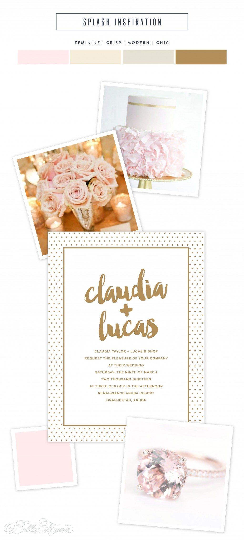 Tawny matte foil polka dot invitations by Lindsy Talarico for Bella Figura