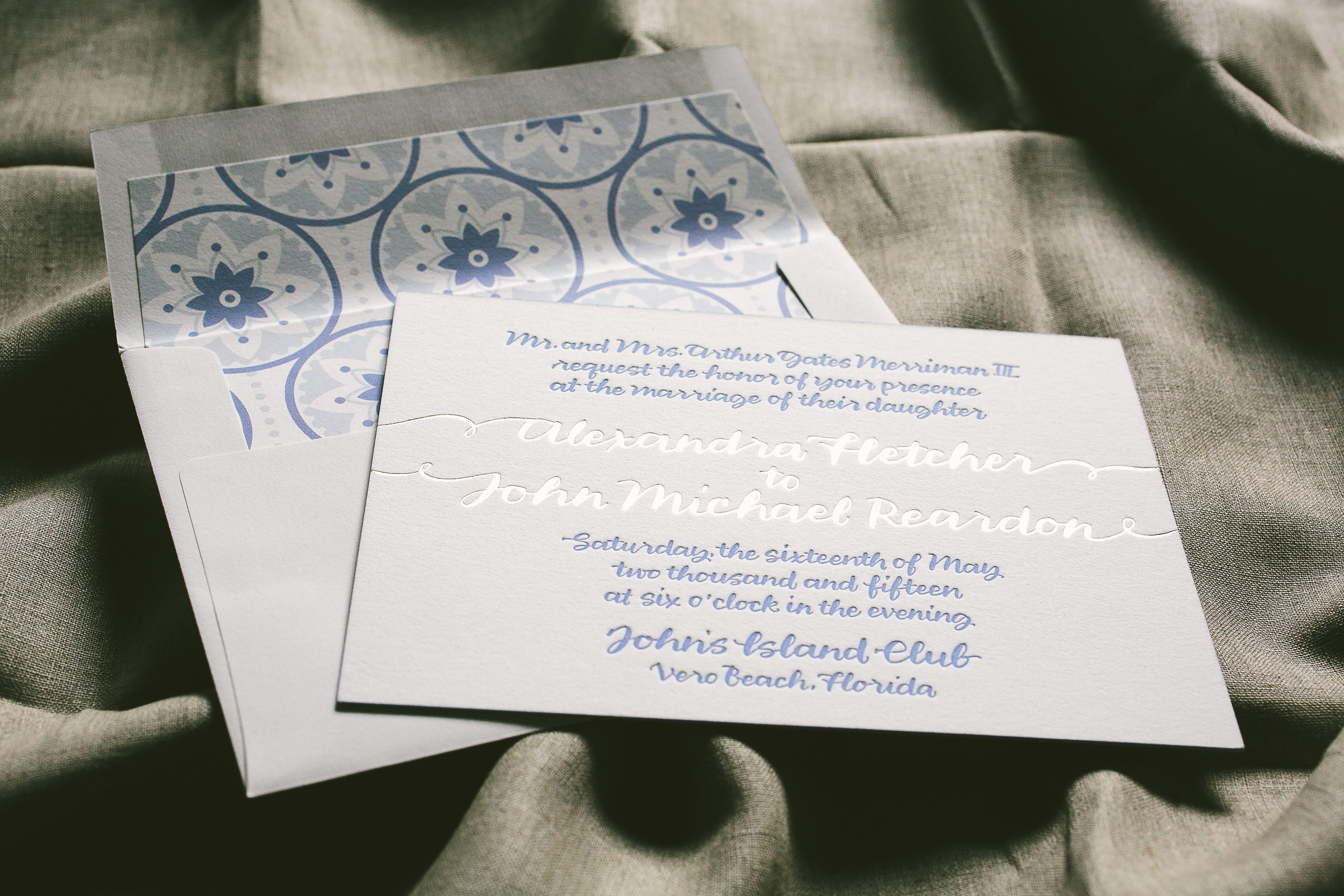 Beach wedding invitations with island-inspired envelope liner ...