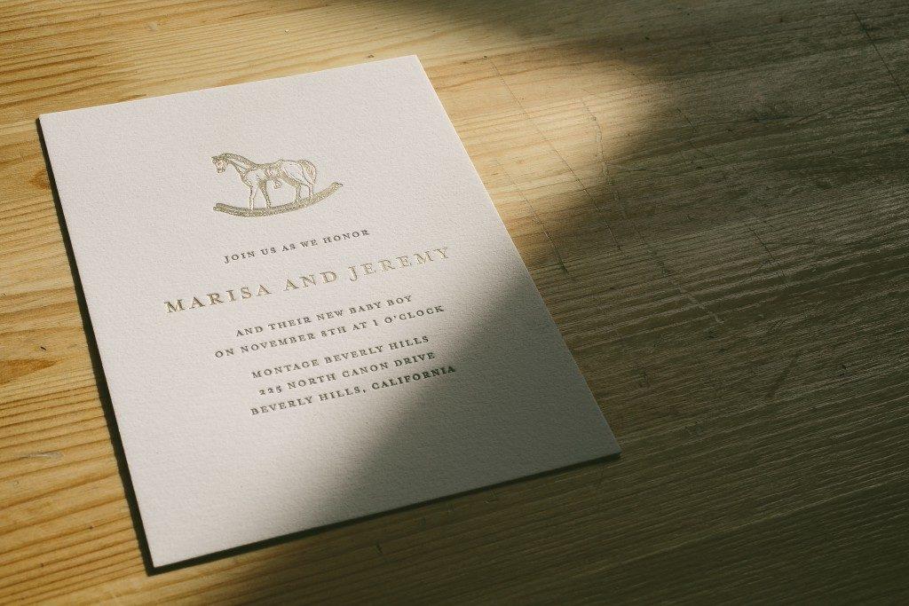 Vintage inspired rocking horse baby shower invitations | Bella Figura