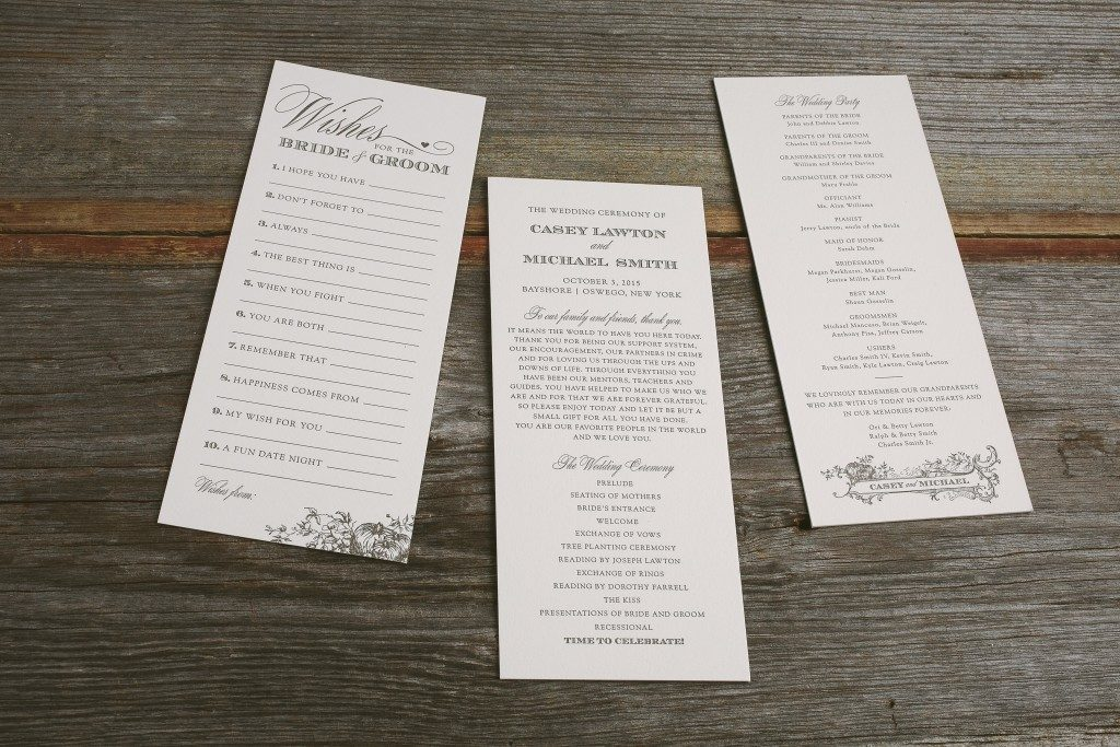 Harvest-inspired wedding ceremony programs and advice cards | Bella Figura