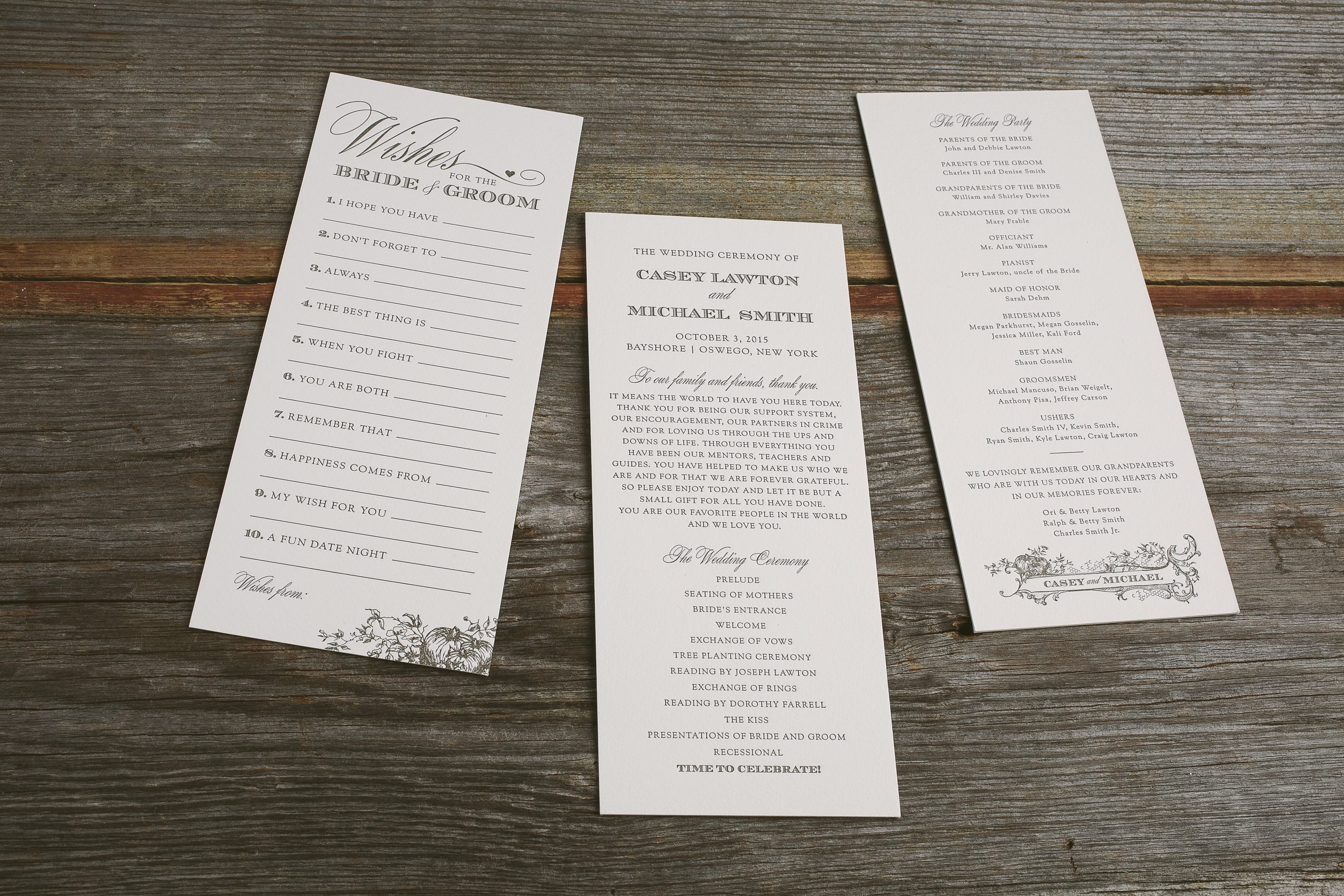 harvest inspired wedding ceremony programs and advice cards