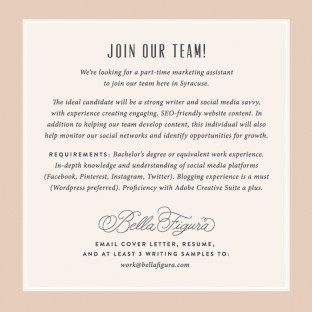Bella Figura is hiring!