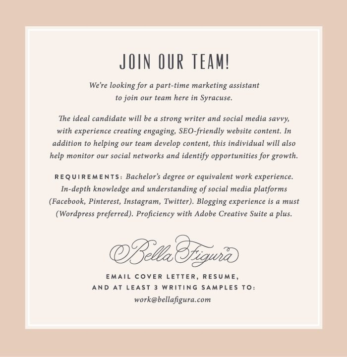 Bella Figura Is Hiring A Marketing Assistant In Syracuse