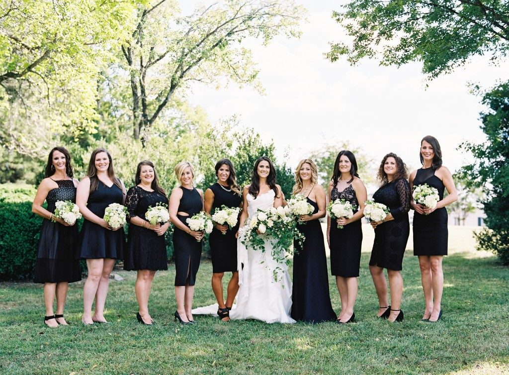 Bridesmaids in classic little black dresses