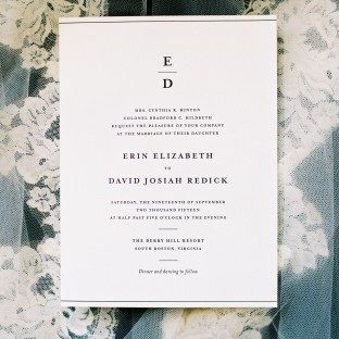 Simple Elegance letterpress wedding invitations from Bella Figura