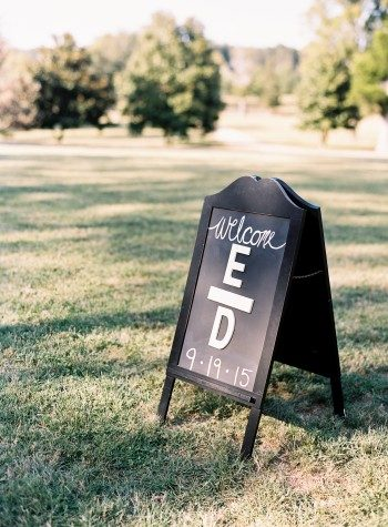 Erin and David created a welcome sign inspired by their Bella Figura wedding invitations