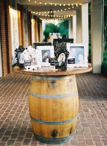 Remembrance table on an old whiskey barrel