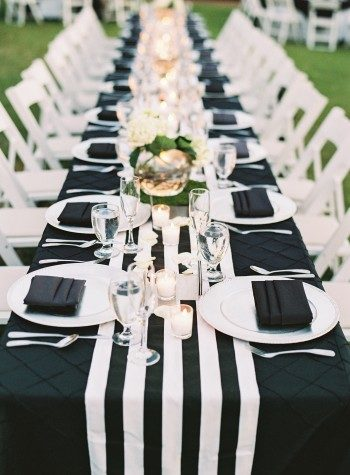 Classic black and white wedding reception at Berry Hill Resort