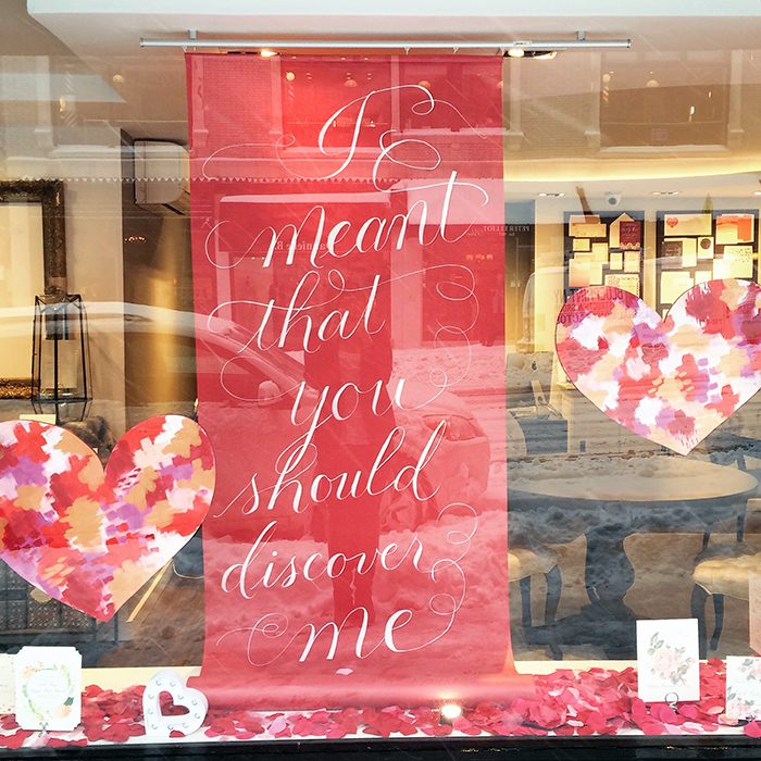 Valentine\'s Day window display at Bella Figura\'s flagship store