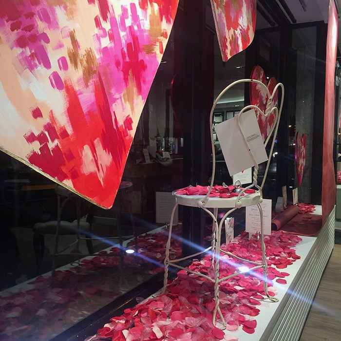 The Bella Figura flagship store Valentine's Day window displays