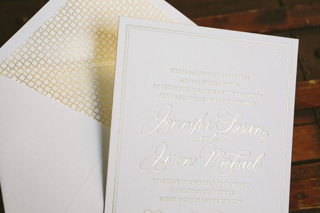 simple and sophisticated gold foil wedding invitations | Bella Figura