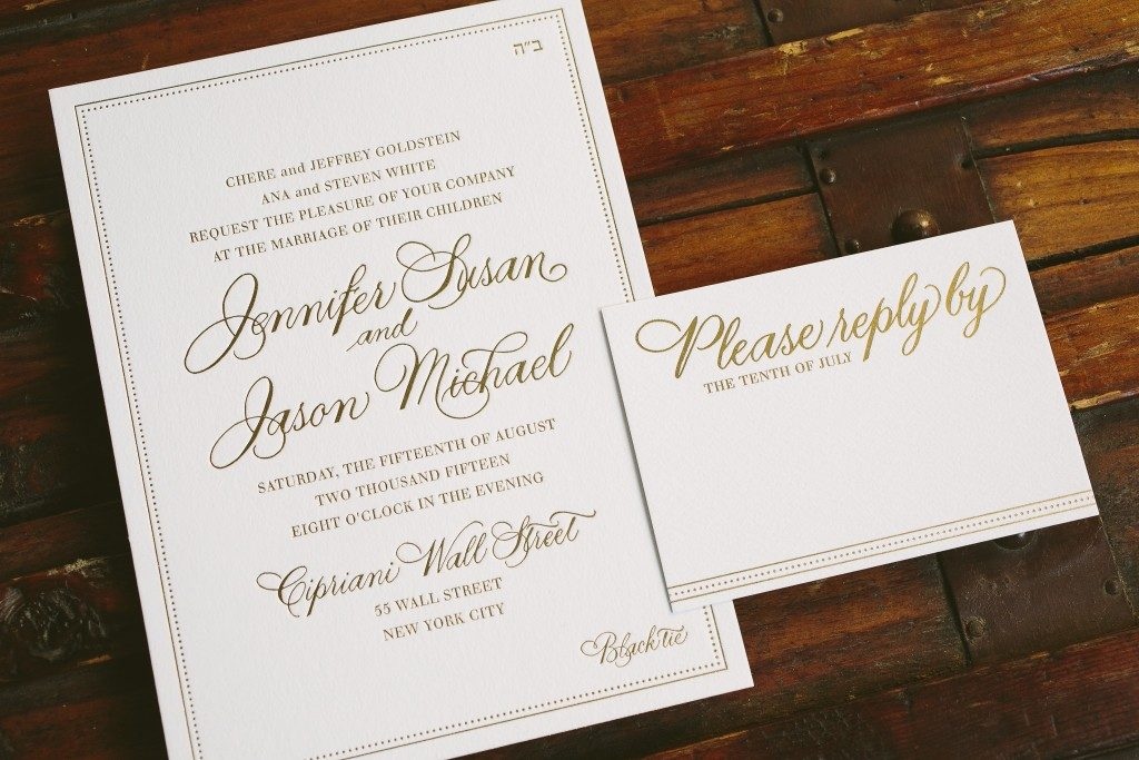 simple and sophisticated gold foil wedding invitations - Bella Figura
