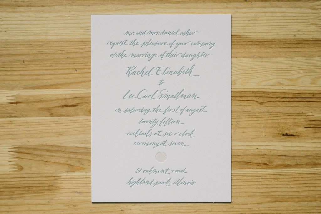 hand calligraphed coastal wedding invitations by Bella Figura