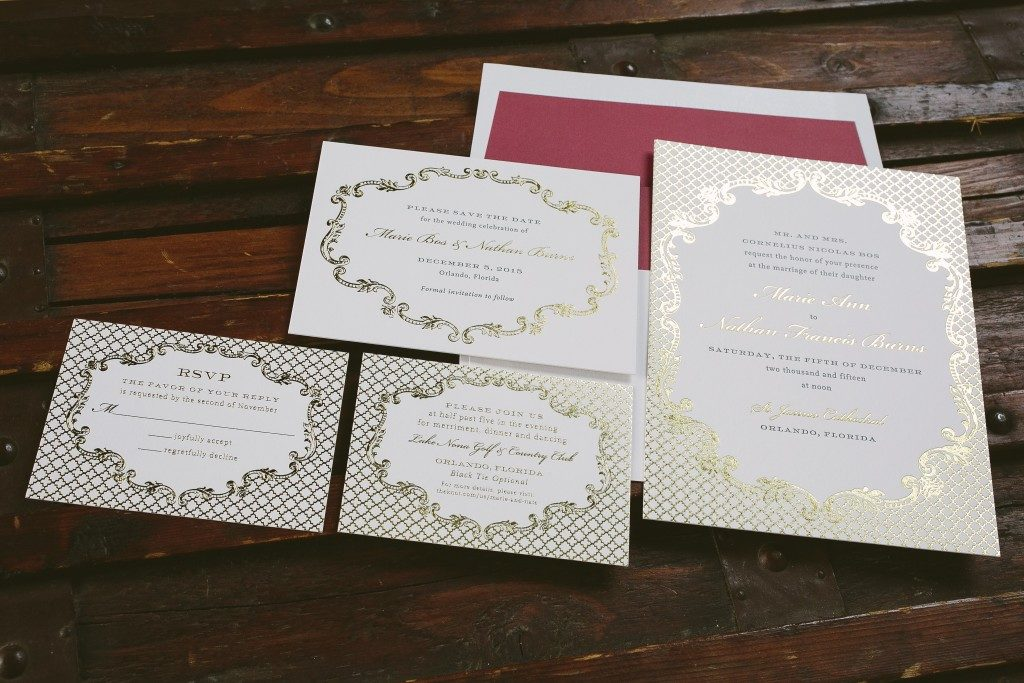 vintage inspired gray and gold wedding invitations from Bella Figura