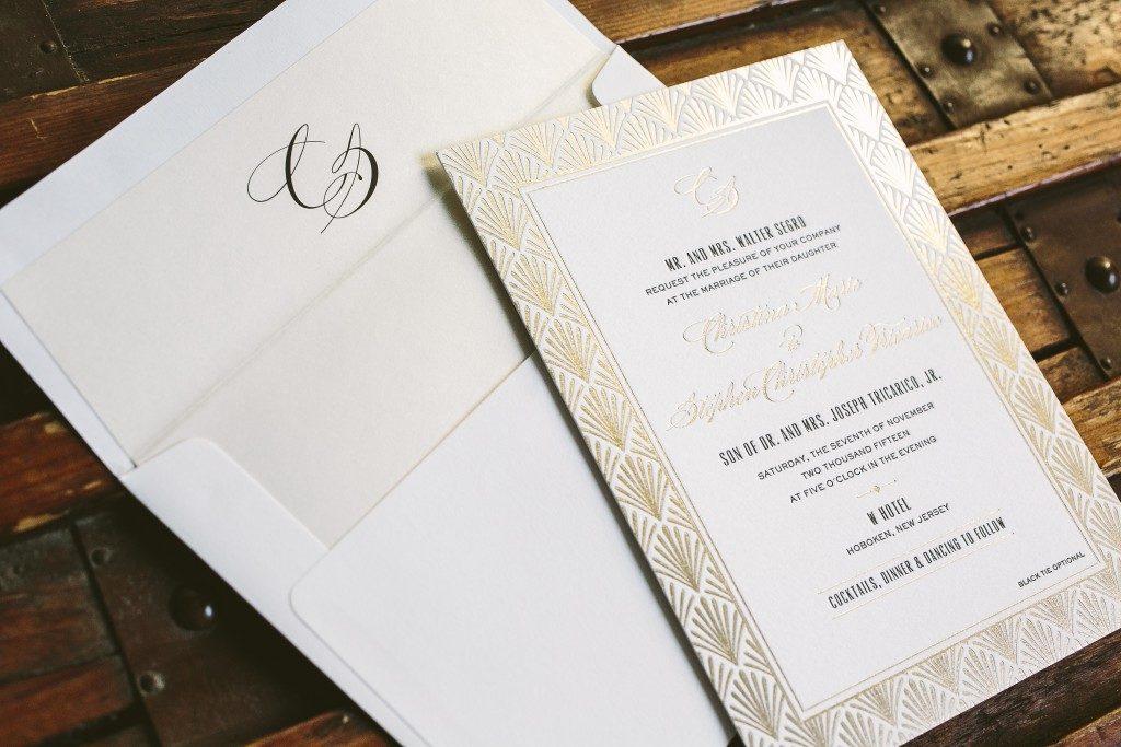 black and tawny foil art deco inspired wedding invitations | Bella Figura