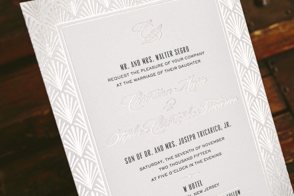black and tawny foil art deco inspired wedding invitations | Bella Figura