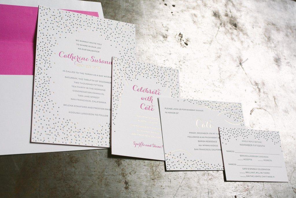 Bubbly gold and pink Bat Mitzvah invitations | Bella Figura