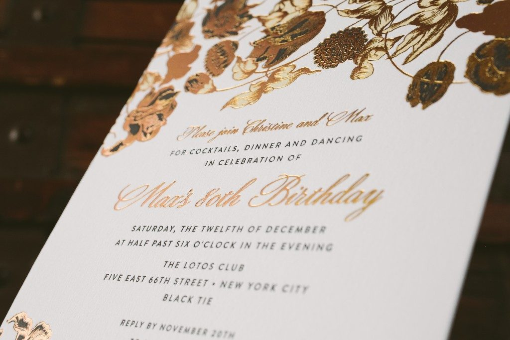 foil and letterpress birthday party invitations | Bella Figura