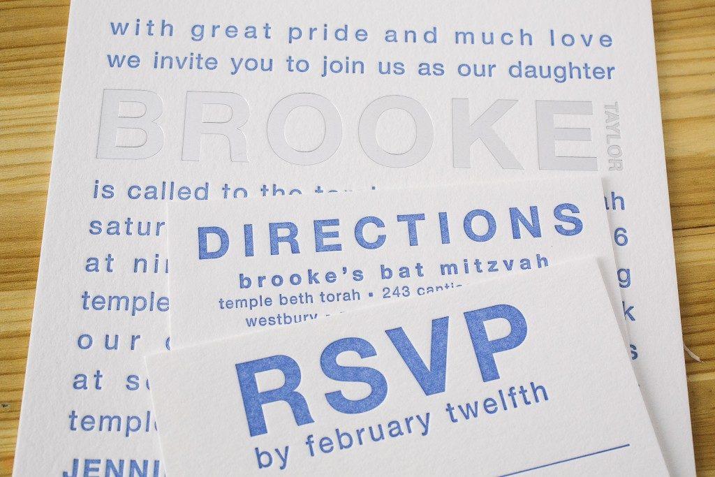 modern Bat Mitzvah invitations featuring bold typography | Bella Figura
