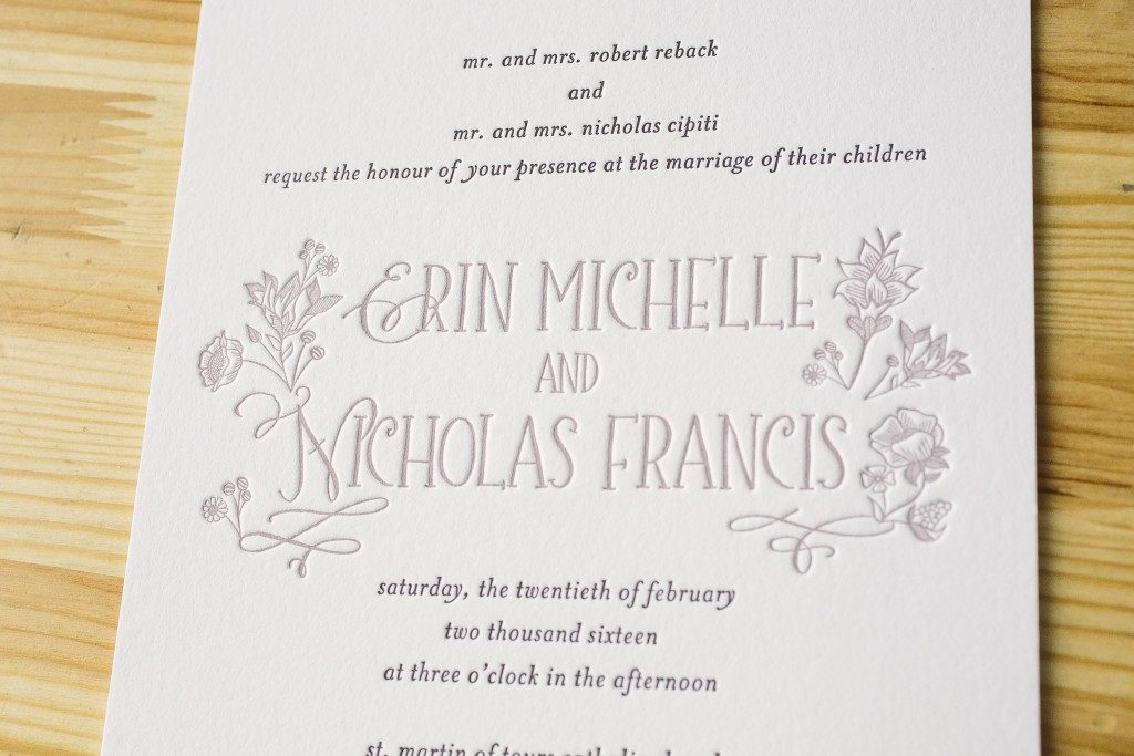 purple wildflower wedding invitations | Bella Figura
