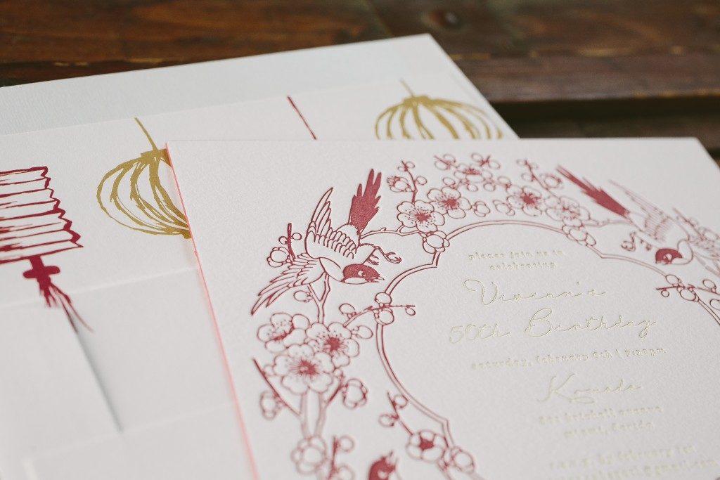 Asian inspired birthday invitations   Bella Figura