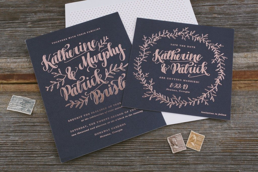 Rustic wedding invitations from Bella Figura