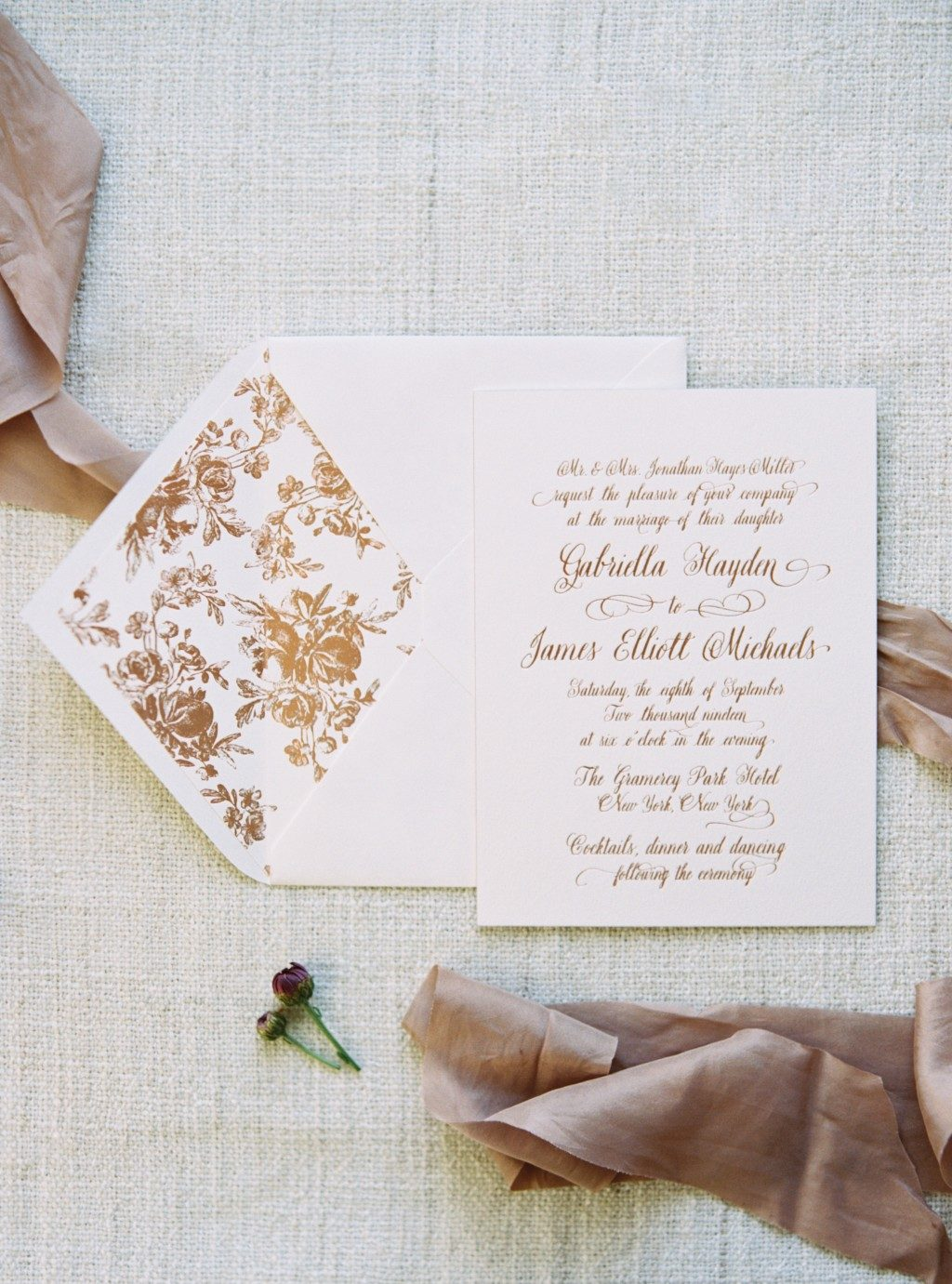 Rose gold Leyton wedding invitations by Bella Figura