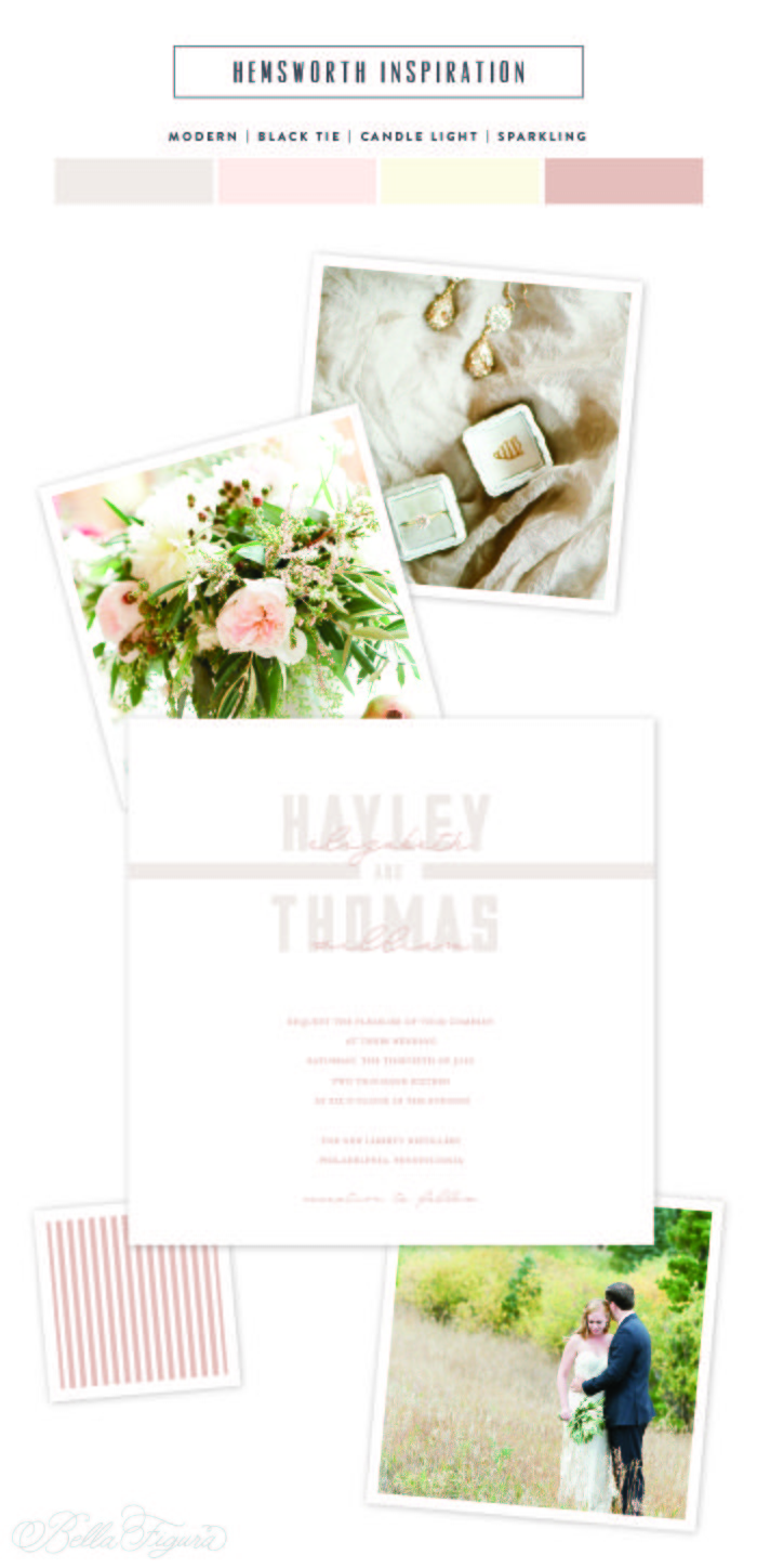 pastel wedding invitations inspired by modern romance - Bella Figura