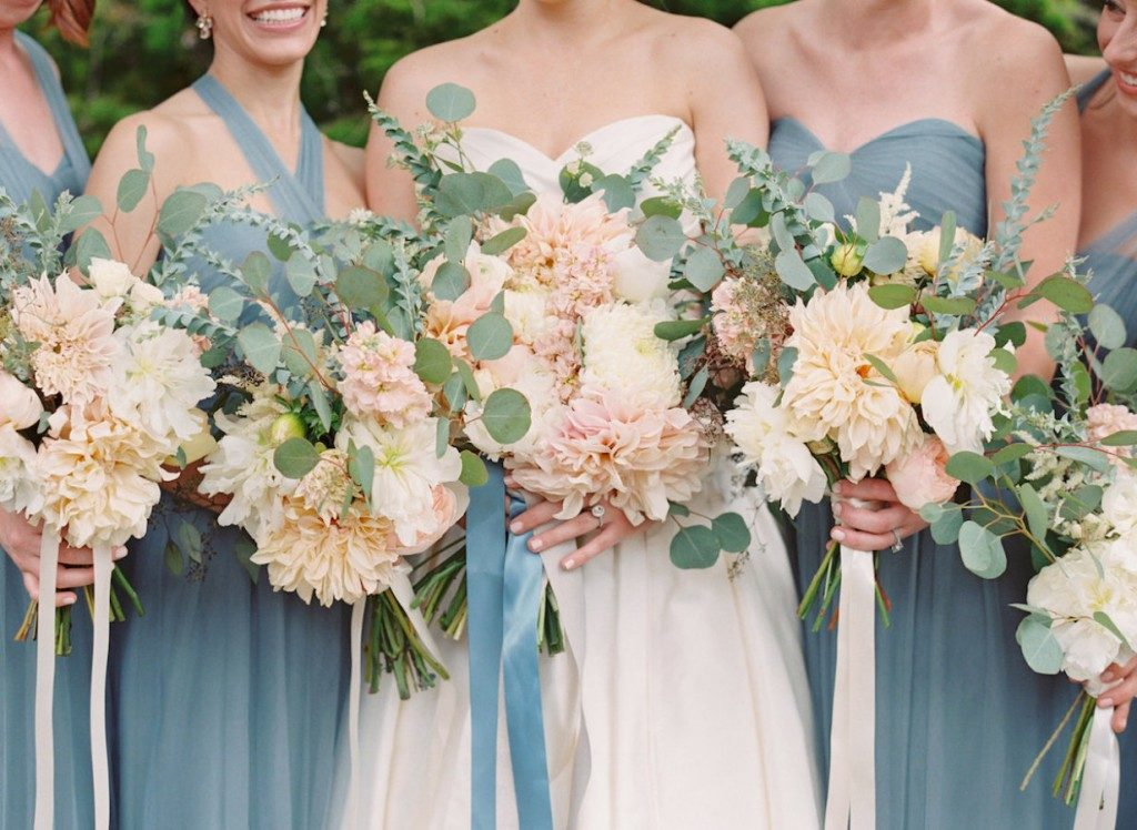 Bridesmaids in soft blue-green Jenny Yoo gowns