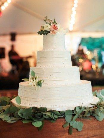Simple white wedding cake + wedding at the Cheekwood Botanical Garden