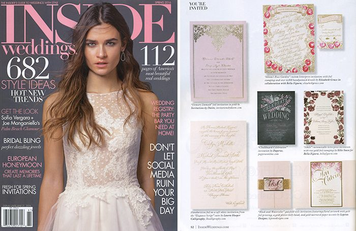 Bella Figura's Adele wedding invitations by Ellie Snow were featured in the Spring 2016 issue of Inside Weddings magazine