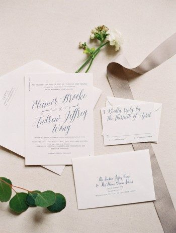 Serendipity wedding invitations from Bella Figura featured on Style Me Pretty