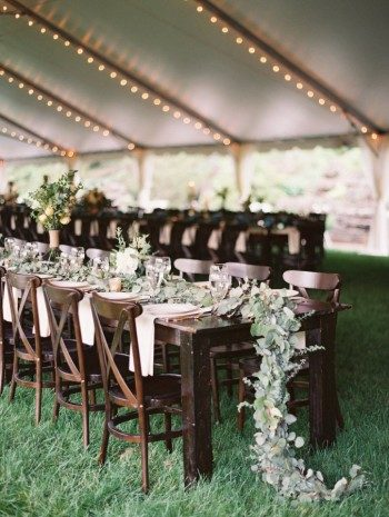 Garland greenery used as a table runner for this Cheekwood Botanical Garden wedding reception
