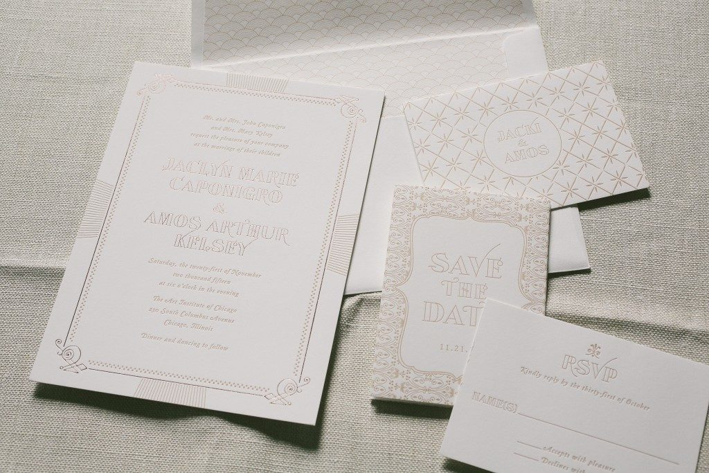vintage inspired wedding invitations in rose gold foil | Bella Figura