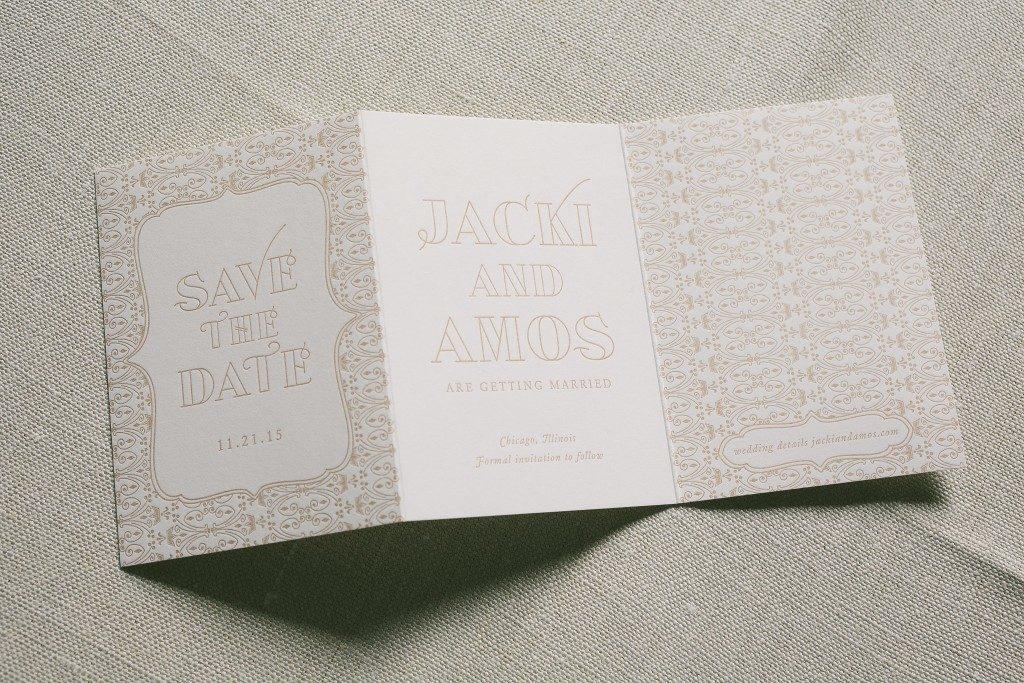 vintage inspired wedding invitations in rose gold foil   Bella Figura