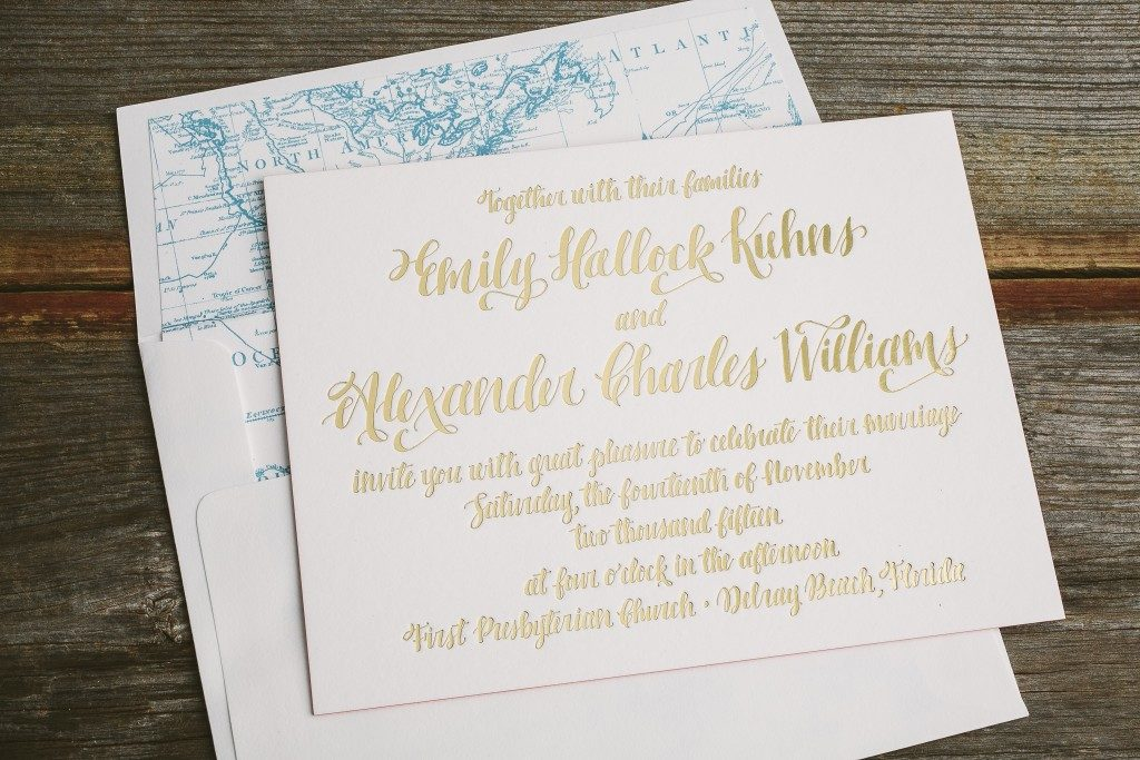 gold foil calligraphy invitations for Delray Beach wedding | Bella Figura