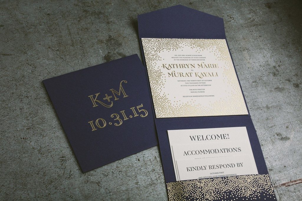 blue and gold wedding invitations for Florida wedding | Bella Figura
