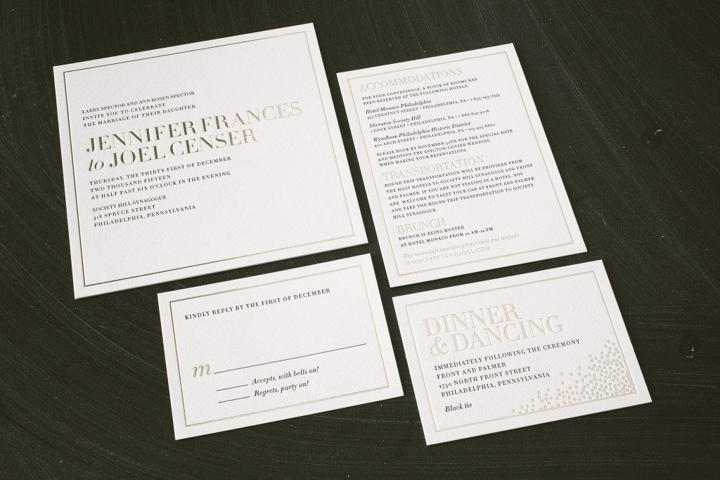 Modern typography wedding invitations in black + tawny foil from Bella Figura