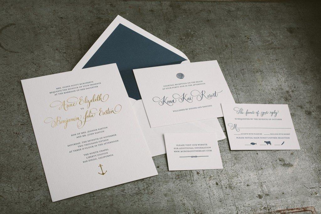 Nautical inspired wedding invitations for beachside San Diego wedding | Bella Figura