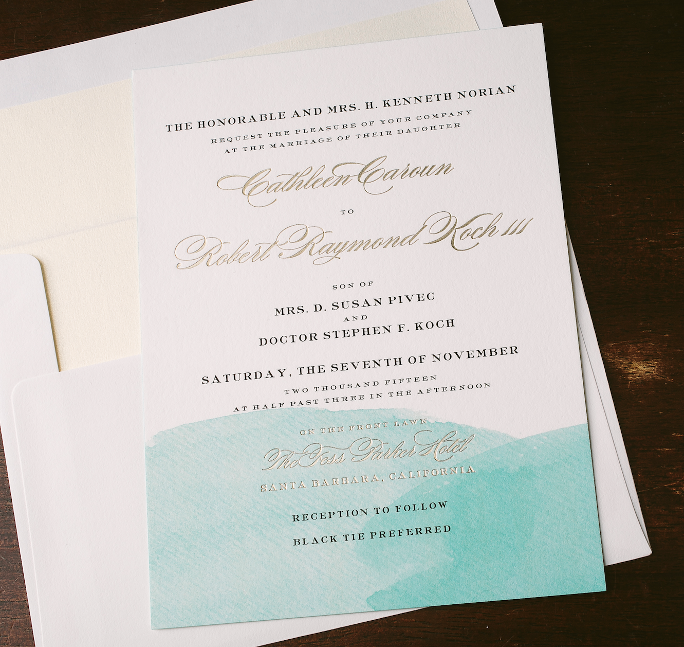 watercolor wedding invitations for Southern California wedding ...