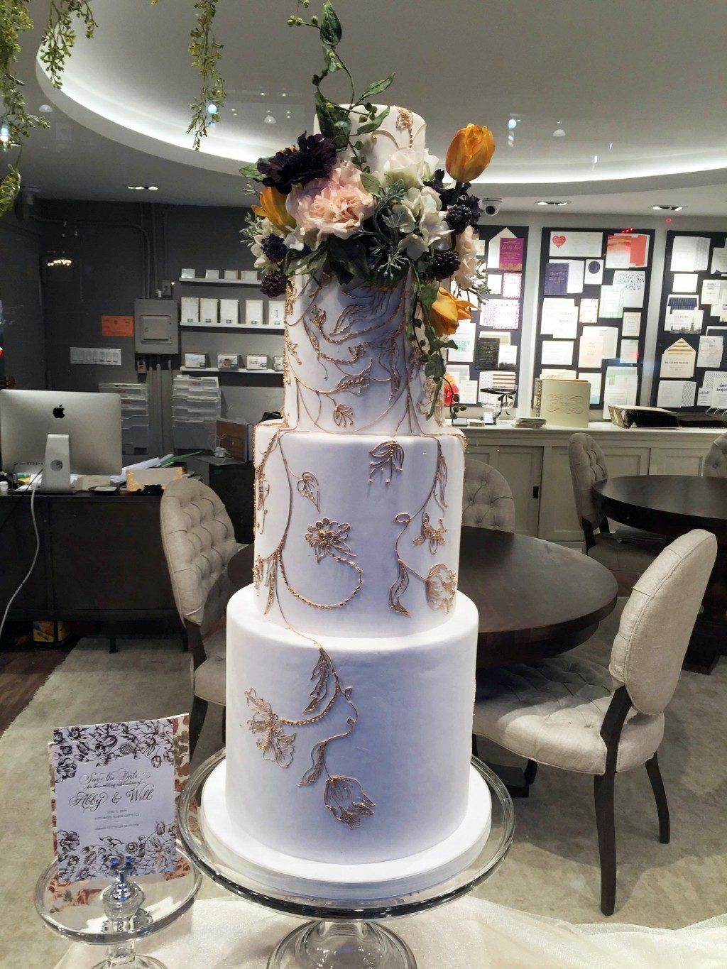 The Adele invitation-inspired wedding cake - a collaboration between Bella Figura + Madison Lee's Cakes