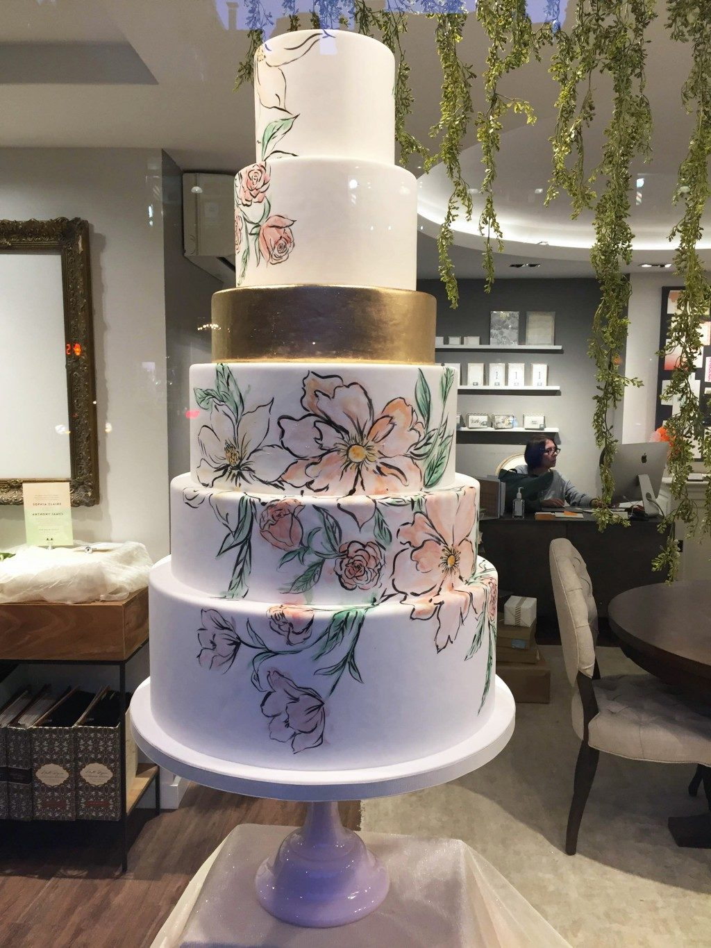 Floral wedding cake inspired by Bella Figura's English Garden wedding invitations
