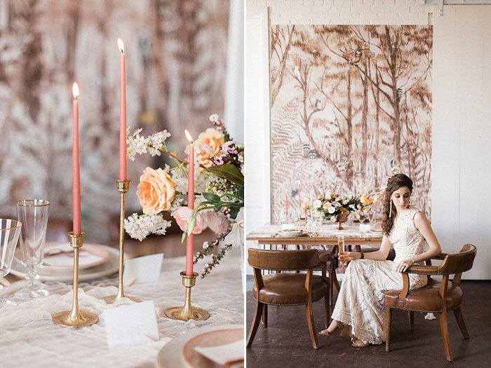 Feminine forest wedding inspiration featured on 100 Layer Cake
