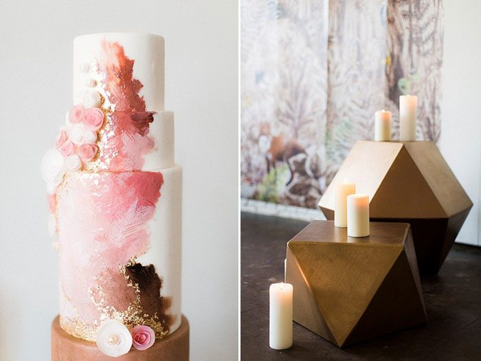 Feminine forest wedding inspiration with modern geometric touches featured on 100 Layer Cake
