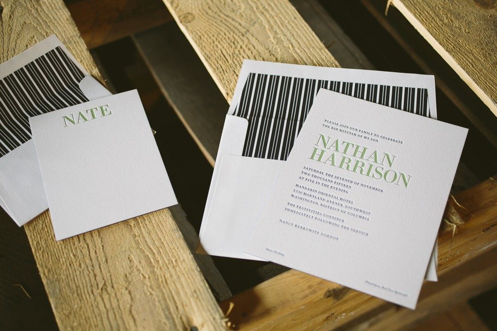 Modern typography Bar Mitzvah invitations | Bella Figura