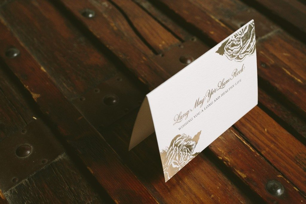 rose wedding invitations with hand calligraphy and tawny foil | Bella Figura